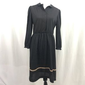 Vintage 70s Polka Dot Secretary Midi Dress M